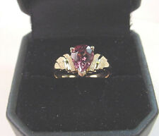 NATURAL COLOR CHANGE GARNET PEAR 1.51 CTS   GREEN to PINK PURPLE  14K GOLD RING