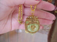 REAL Quail Egg Locket Necklace Green Enamel Hand Made Decorated Trinket Gift