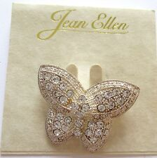Pin/Brooch - BUTTERFLY  - silver color- -sparkly clear stones