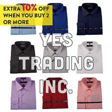 """EXPOSURE"" SOLID MENS DRESS LONG SLEEVE DRESS SHIRT SOLID FORMAL BUSINESS WEAR"
