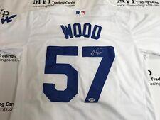 ALEX WOOD Authentic Autograph Los Angeles Dodgers White Jersey BECKETT COA