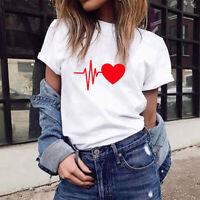 Women's Summer Short Sleeve Heart Print Loose Blouse Casual T-Shirt Ladies Tops