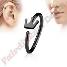 316L Surgical Steel Black Ion Plated Nose & Ear Cartilage Ring with Crown
