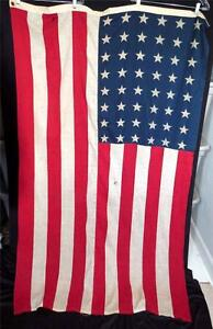 """VINTAGE 1940'S 48 STAR PRINTED COTTON UNITED STATES FLAGS 1912-1959 44"""" X 70"""""""