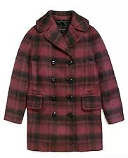 Coach Women Long Plaid Peacoat Coat Jacket Cranberry Red Wool Blend $675 Sz XS