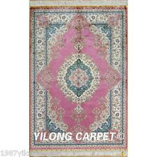 Yilong 4'x6' Pink Handmade Silk Rugs Classic Persian Carpets Hand Knotted 0119