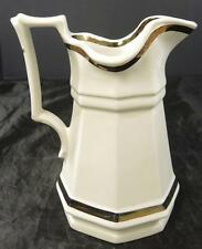 Vintage Red Cliff Ironstone Pitcher * Copper Luster Bands