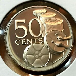 1973 TRINIDAD & TOBAGO 50 CENTS PROOF DRUMS COIN