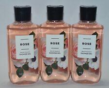 3 BATH & BODY WORKS ROSE SHOWER GEL WASH SHEA VITAMIN E 10 OZ LARGE FLORAL LOT