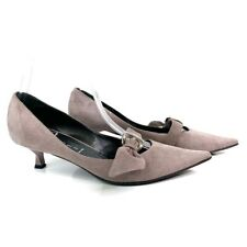 Casadei Womens Pumps Pink Suede Leather Kitten Heel Low Pointed Toe Slip Ons 7 B