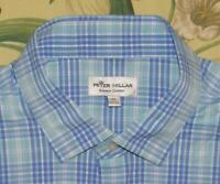 Mens PETER MILLAR Summer Comfort Blue Plaid Longsleeve Button Down Golf Shirt XL