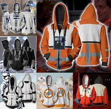 Star War Hoodie Full Zip Hooded Sweatshirt Casual Print Jacket Tops Fan's Gifts