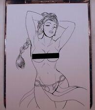 "PRINCESS LEIA TOPLESS NUDE INK DRAWING 8.5""x11 ORIGINAL COMIC ART PRINT by Key"