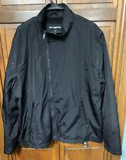 Karl Lagerfeld Paris Men XXL 2XL Windbreaker Jacket Full Zip Asymmetrical Black