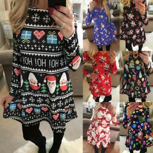 Womens Xmas Swing Christmas Nighty Long Sleeve Party Casual Ladies Mini Dress UK