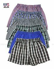 Lot 3 or 6 Pack Men Cotton Boxer Briefs Check Plaid Woven Shorts Brief Underwear