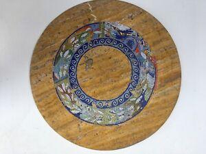 tavolo marmo giallo persia diametro cm.70 intarsiato a mano e mosaico in vetro