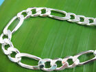 """MADE IN ITALY 925 sterling silver """"9mm FIGARO"""" CHAIN NECKLACE 18"""" to 30"""" UNISEX"""