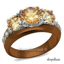 4.45 Ct Round Cut Champagne CZ Stainless Steel Engagement Ring Women's Size 5-10