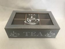 Grey Rustic Wooden  6 Compartment Tea Storage Box