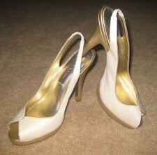 "Nina*Eveable*Gorgeous Ivory/Gold* Peep Toe Sling Back 4.5"" heel shoe*Sz 7.5M*NWB"