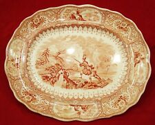 Antique W Adams & Sons Red & White Staffordshire Transferware Caledonia Platter