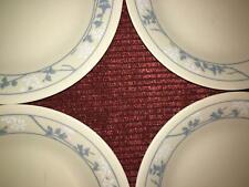 "4 vintage CORELLE blue white flower 6.5"" bread dessert plates First of Spring"