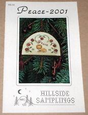 "Hillside Samplings ""Peace"" Lion & Lamb Cross Stitch Christmas Ornament Pattern"