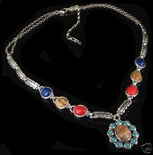 Sterling Silver Multi-gemstone Turquoise Link Necklace
