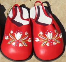 "Red Embroidered Floral Clogs fit 23"" Straight Leg or Poseable Doll Shoes, 98mm"