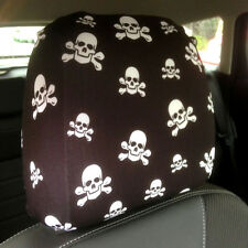 CAR SEAT HEAD REST COVERS 2 PACK BLACK AND WHITE SKULL AND CROSSBONE DESIGN