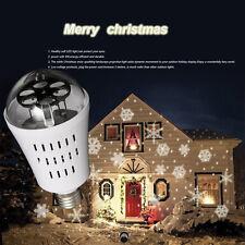 E27 4W LED Bombillas Snowflake Proyector Laser De Luz Navidad White Moving Light