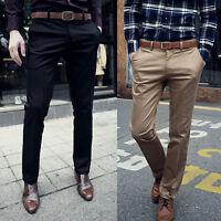 New Korean Mens Slim Fit Solid Dress Pants Flat Front Slacks Trousers Slim Pants