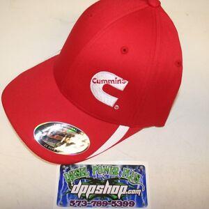 Cummins hat ball cap fitted flex fit flexfit stretch cummings red white s/m