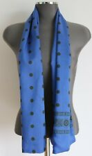 """Scarf Wool & Silk blend 56"""" X 13"""" Blue with black spots pattern Unisex Hand made"""