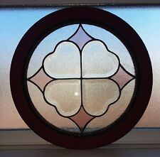 """15"""" round wood red black framed stained glass window hanging suncatcher"""