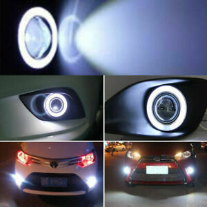 2X 2.5inch Round White Car Angel Eye Halo LED Projector Fog Light ATV Truck