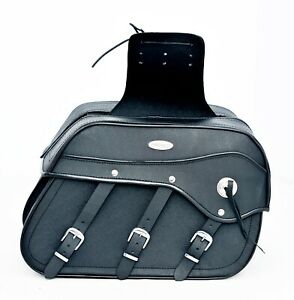 MOTORBIKE SADDLE BAGS SPLIT LEATHER, UNIVERSAL FIT, BLACK, MODEL PL2668B