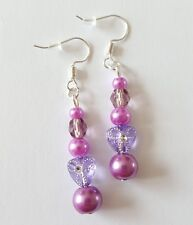 New Handmade Purple Glass Faceted Glass Pearl Round Acrylic Dangle Drop Earrings