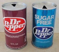 2 Different Vintage Steel 1970's Dr. Pepper Pull Tab Cans.
