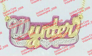 PERSONALIZED 14K GOLD PLATED ANY COLOR GLITTER BACKGROUND ANY NAME/COLR UP TO 9