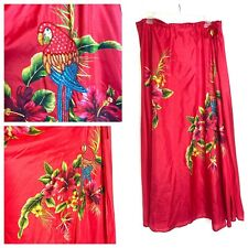 Soft Surroundings Maxi Skirt 100% Silk Red Beaded Parrots Floral Drawstring L