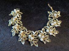 Vintage Judy Lee Signed Thick Chunky AB Rhinestone Faux Pearl Leaf Link Bracelet