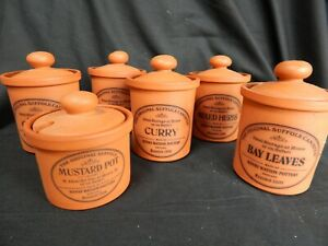 Henry Watson Pottery  Original Suffolk  Terracotta 5x Herb Spice Jars & Mustard