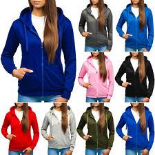 Kapuzenpullover Sweatjacke Sweatshirt Hoodie Unifarben Zip Damen BOLF A1A Basic