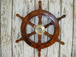 "Nautical Maritime Pirates/Captains 12"" Ships Wheel Brass/Wooden  Decore/gift"
