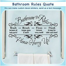 Bathroom Rules English Quote Saying Vinyl Wall Home Decor Art Sticker Decal S117