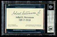 Adlai E. Stevenson signed autograph Business Card United States Senator BAS Slab