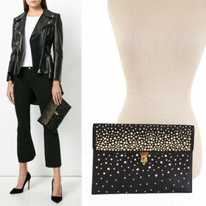 NEW $895 ALEXANDER MCQUEEN Leather GOLD STUDDED SKULL CLASP Envelope CLUTCH BAG