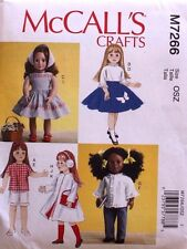"18"" GIRL DOLL CLOTHES * RETRO McCall's Sewing Pattern 7266 American Made NEW"